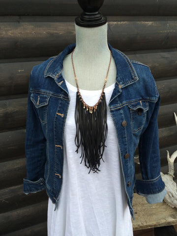 Black Leather Tassel Necklace With Pyrite