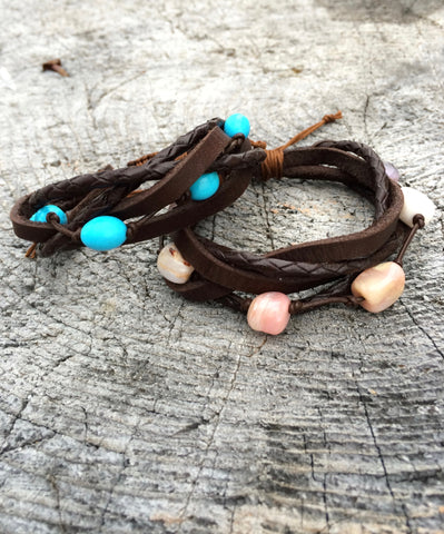 Braided Leather and Pink Opal Bracelet