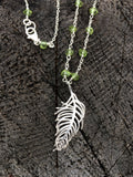 Silver Feather Pendant and Peridot Long Necklace