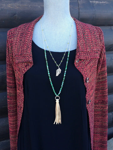 Chrysoprase and Sterling Silver Leather Tassel Necklace