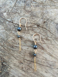 Hematite and Gold-filled Dangle Earrings