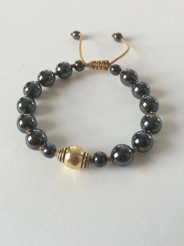 Hematite and Gold Vermeil Yoga Bracelet