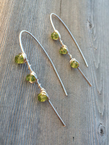 Peridot and Hammered Sterling Silver Arch Earring