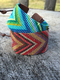 Blue/Green Chevron Seed Beaded and Leather Cuff