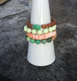 Pink Shell Bead and Sandalwood Stacking Bracelet