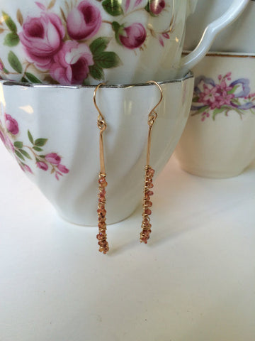 Orange Sapphire Gold Bar Earrings