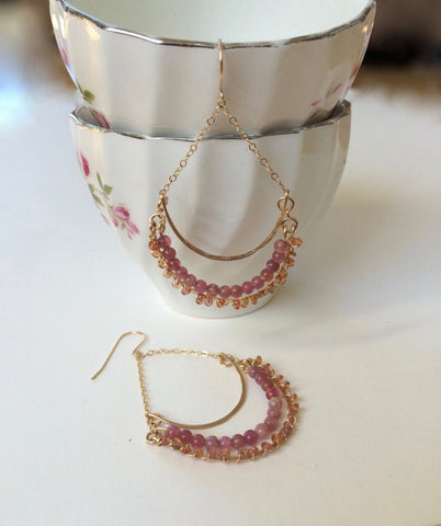 Sapphire, Pink Tourmaline and Gold Dangle Earrings