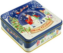 Farmhouse Biscuits Christmas Snow Globe Square Tin 400g