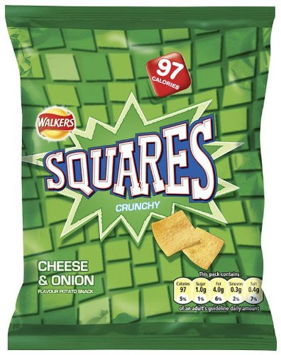 Walkers Squares Cheese and Onion 27.5g BBD 26/9/20