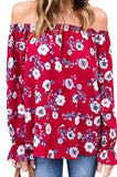 ItspleaZure Red Sweet Floral Slash Neck Printed Top for  at itspleaZure