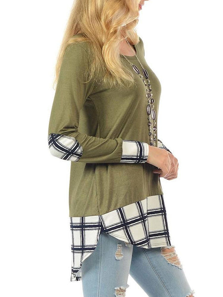 ItspleaZure Elegant Green Plaid Long Sleeve Top for  at itspleaZure