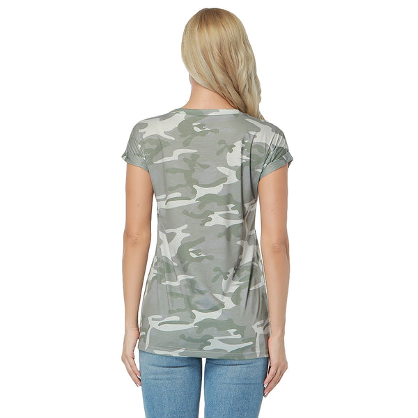 ItspleaZure Round Neck Cozy Camo Pattern Top for  at itspleaZure