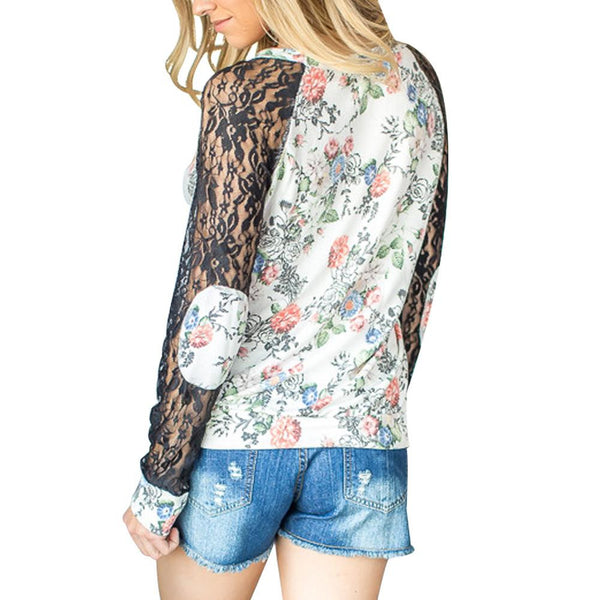 ItspleaZure Lace Patchwork Design White Full Sleeves Top for  at itspleaZure