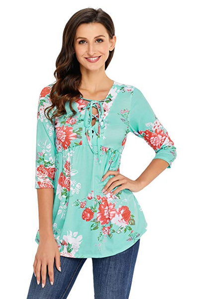 ItspleaZure Retro Flower Pattern Lace-Up Tie Neck 3/4 Sleeves Top for  at itspleaZure