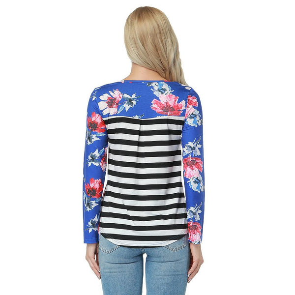 ItspleaZure Flower Pattern Stripe Round Neckline Top for  at itspleaZure