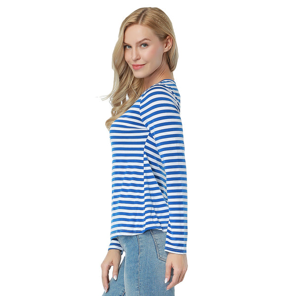 ItspleaZure  Blue And White Stripes Round Neck Long Sleeves Top for  at itspleaZure