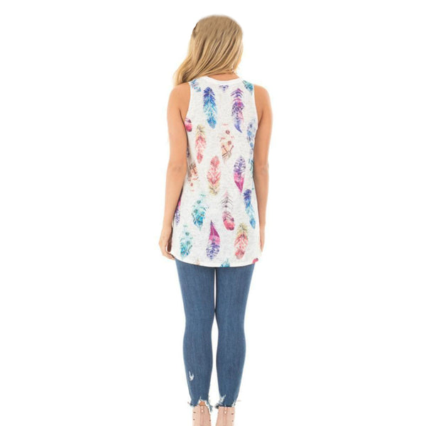 ItspleaZure   Feather Print Round Neckline Tank Top for  at itspleaZure