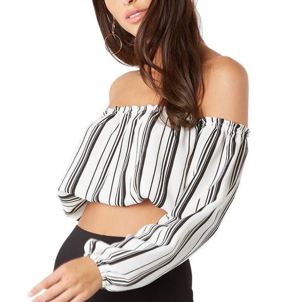 ItspleaZure Open Back Slash Neck Stripe Pattern Crop Top for  at itspleaZure