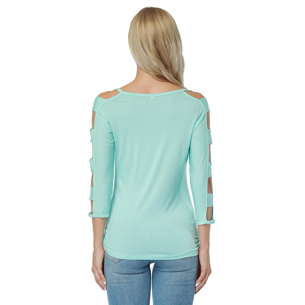 ItspleaZure Toothsome Green Cut Out Sleeves Top for  at itspleaZure