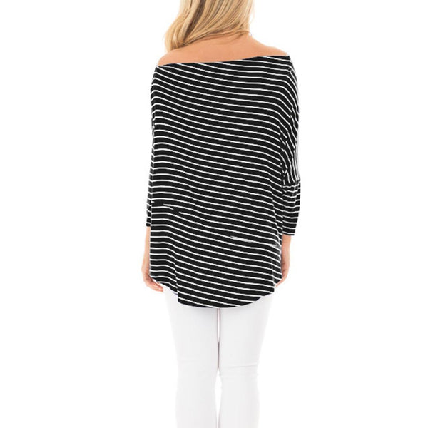 ItspleaZure Black Striped Off Shoulder Top for  at itspleaZure