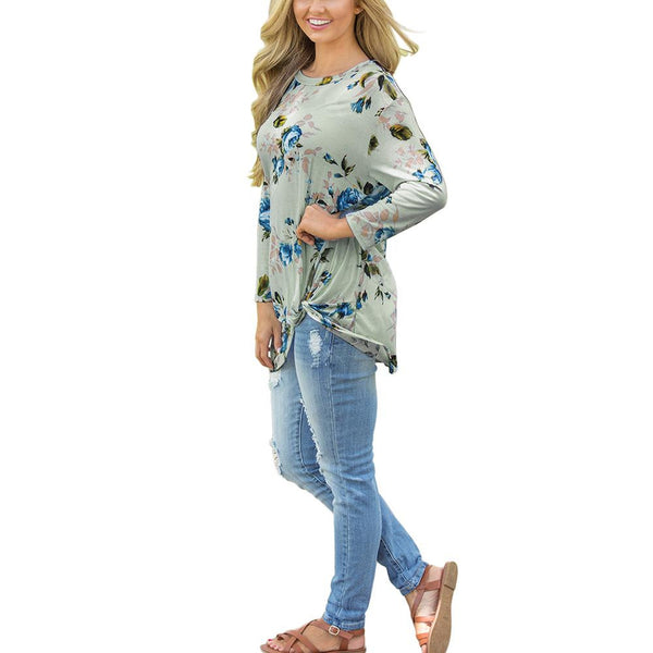 ItspleaZure Green Floral Printed Round Neck Top for  at itspleaZure