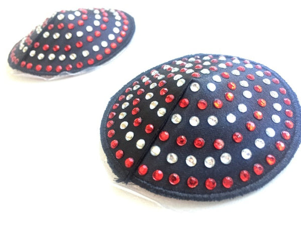 ItspleaZure Black Nipple Pasties with Silver and Red Diamond for  at itspleaZure