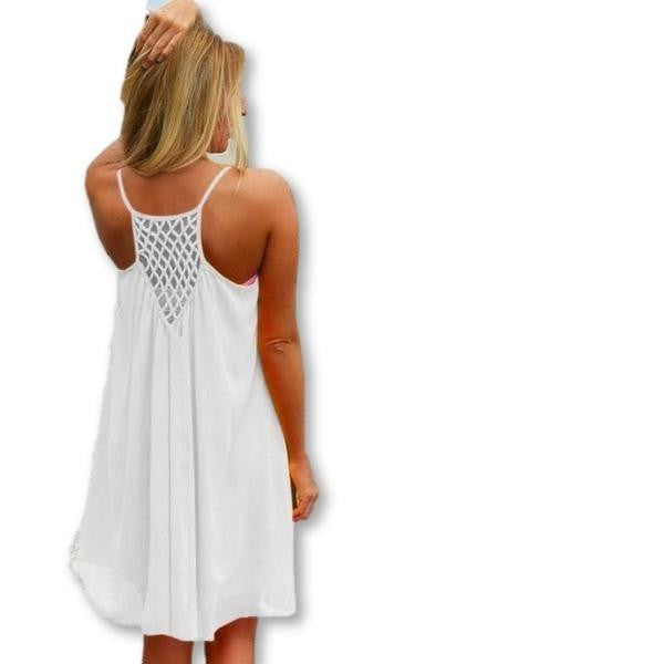 ItspleaZure White Summer Beach Dress Fashion Beach Cover Up Halterneck for  at itspleaZure