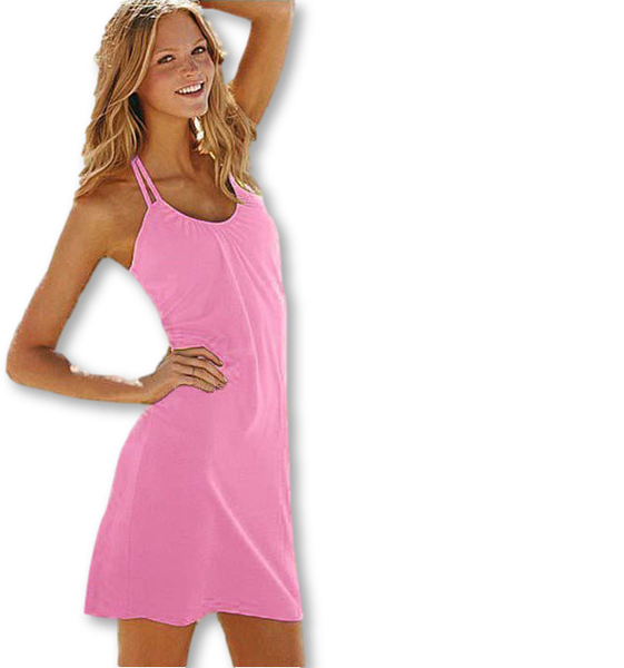 ItspleaZure Light Pink Summer Beach Dress Fashion Beach Cover Up Halterneck for  at itspleaZure