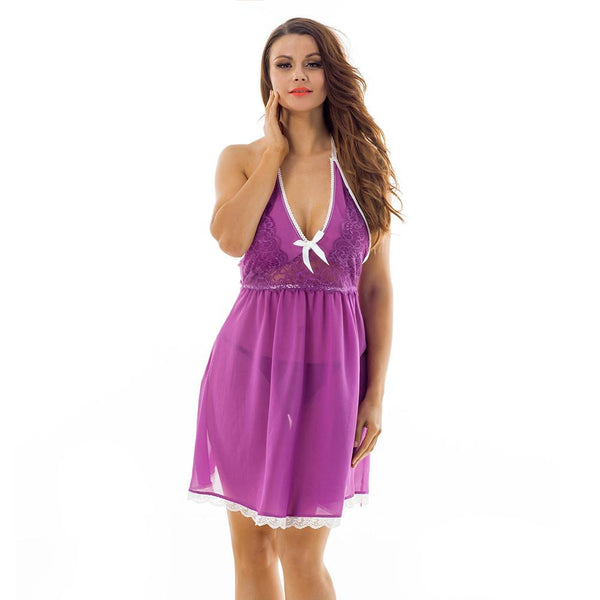 ItspleaZure Halter High Cup Lace Trimmed Purple BabyDoll for  at itspleaZure