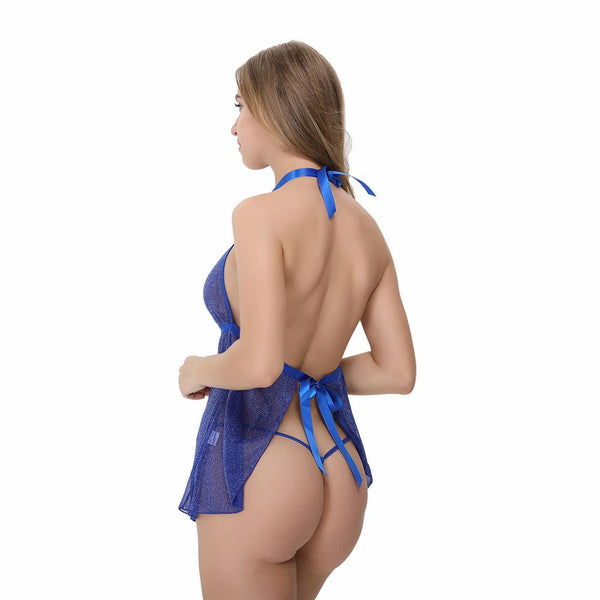 ItspleaZure Satin Halter Design Blue BabyDoll for  at itspleaZure