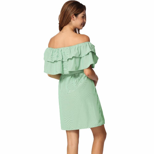 ItspleaZure Stripe Elastic Slash Neck Dress Tie Plus Size Dresses Green for  at itspleaZure