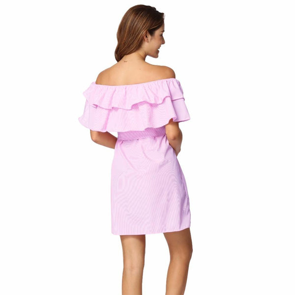 ItspleaZure Stripe Elastic Slash Neck Dress Tie Plus Size Dresses Pink for  at itspleaZure