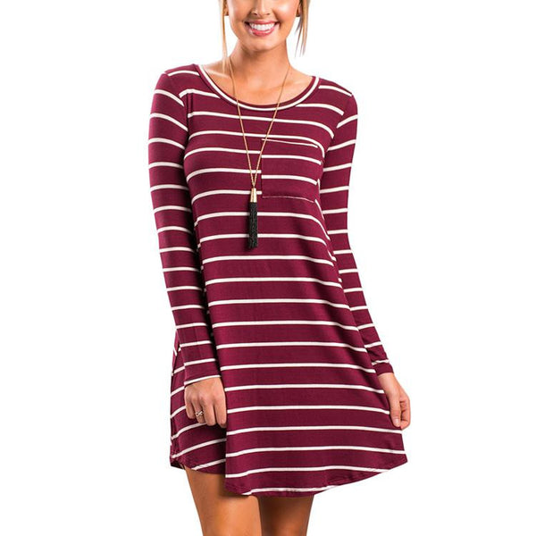 ItspleaZure Long Sleeve Striped Casual Loose T-Shirt / Mini Dress Red for  at itspleaZure