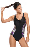 ItsPleaZure Tank Design Print Side One-piece Swimwear for  at itspleaZure