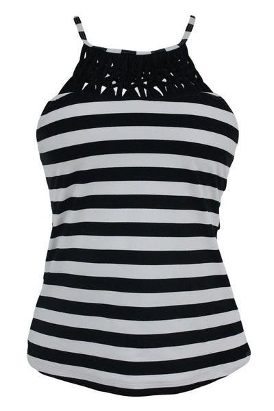 ItsPleaZure Black White Stripe Print Macrame High Neck Swim Top for  at itspleaZure
