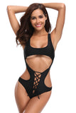 ItsPleaZure Black Cutout Lace Up Sexy Maillot for  at itspleaZure