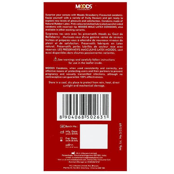 Moods Condoms Sreawberry Pack Of 12 for  at itspleaZure