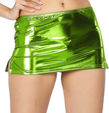 ItspleaZure women's Shiny Liquid Metallic Wet Look Bodycon Mirco Mini Fish Scale Pencil Skirt - Fluorescent Green for  at itspleaZure
