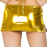 ItspleaZure women's Shiny Liquid Metallic Wet Look Bodycon Mirco Mini Fish Scale Pencil Skirt - Golden for  at itspleaZure