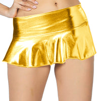 ItspleaZure women's Flared Wet look Mini Skirt - Golden for  at itspleaZure