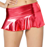 ItspleaZure women's Flared Wet look Mini Skirt - Red for  at itspleaZure