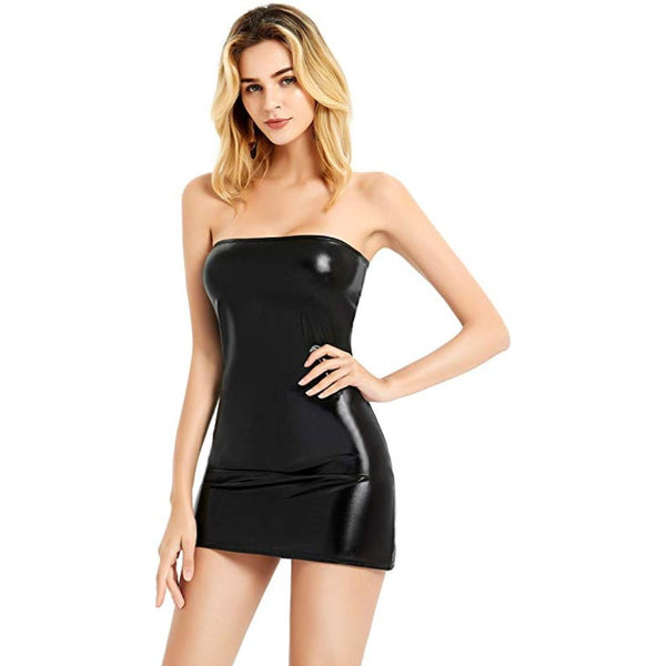 ItspleaZure women Sexy Shiny Metallic Strapless Mini Tube Bodycon Dress - Black for  at itspleaZure