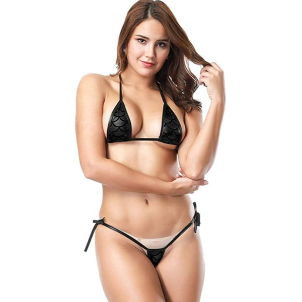 ItspleaZure women's Bikini with Fish Scale Design - Black for  at itspleaZure