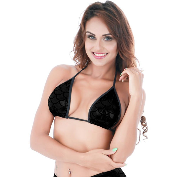 ItspleaZure women WetLook Backless Fish Scale Bra - Black for  at itspleaZure