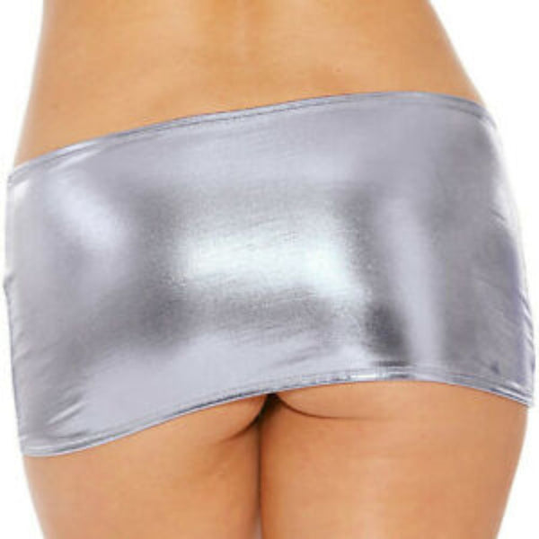 ItspleaZure women Wetlook Latex Micro Mini Skirt - Silver for  at itspleaZure