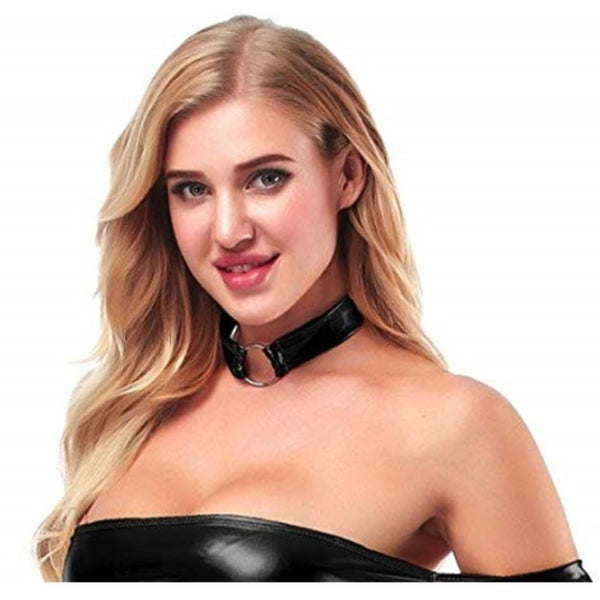 ItspleaZure women's Shiny Leather Sexy Choker-Black for  at itspleaZure