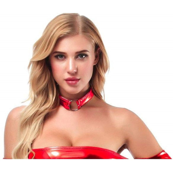 ItspleaZure women's Shiny Leather Sexy Choker-Red for  at itspleaZure
