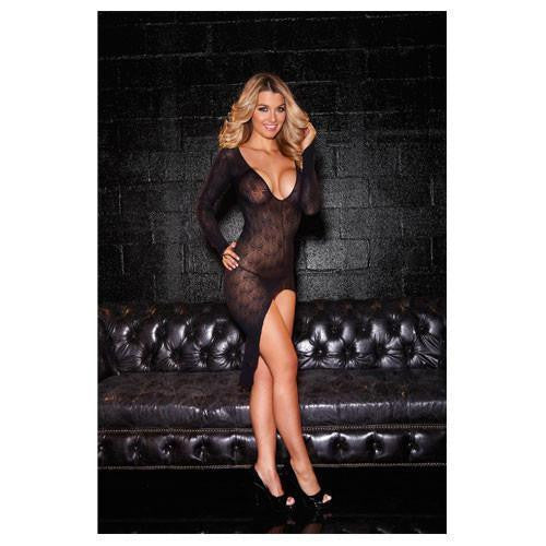 Hustler Lingerie Long Sleeve V-Neck Gown
