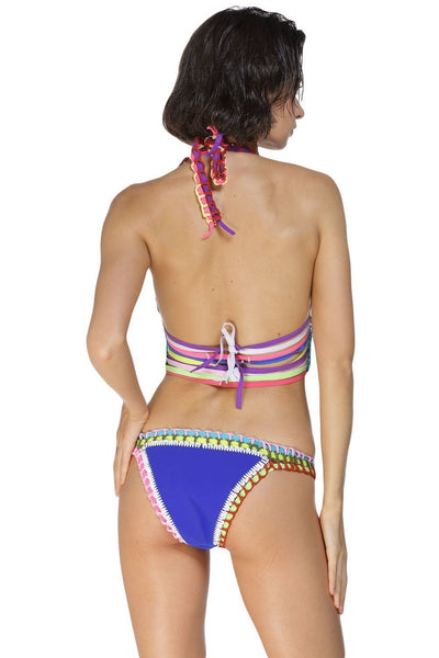 ItspleaZure Multicolor Tie Up Crochet Blue Neoprene Bikini for  at itspleaZure