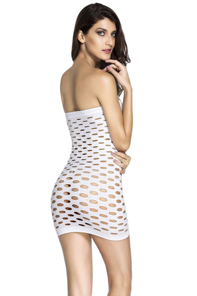 ItspleaZure Body Stocking ItspleaZure Fascinating Pothole Tube Chemise White Dress